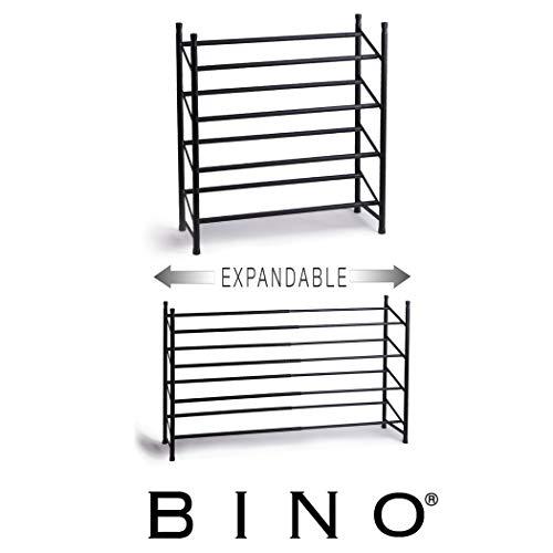 BINO Stackable 4 Tier Expandable Shoe Rack - 12-24 Pair Shoe Shelf Tower Storage Organizer, Black