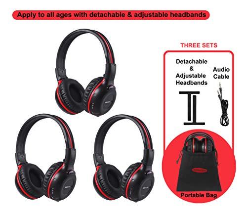 3 Pack of DVD Wireless Headphones, Car Kids Headphones, IR Headphones for Car Entertainment System, Wireless IR Headphones with Dual Channel