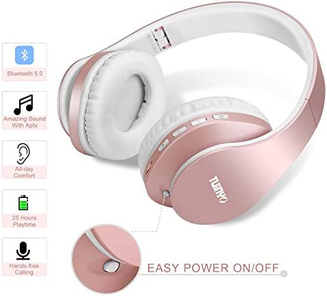 Bluetooth Headphones,TUINYO Wireless Headphones Over Ear with Microphone, Foldable & Lightweight Stereo Wireless Headset for Travel Work TV PC Cellphone-Rose Gold 14