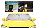 Windshield Sun Shade -Luxurious 210T Fabric for Maximum UV and Sun Protection -Foldable Sunshade for car Windshield Will Keep Your car Cooler- Windshield Sunshade (Large)