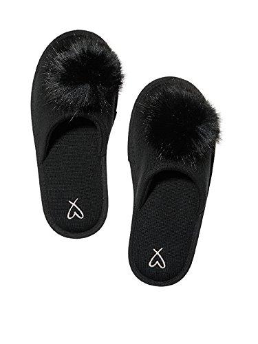 Victoria's Secret Pom Pom Pretty Slippers Black- Medium 7/8