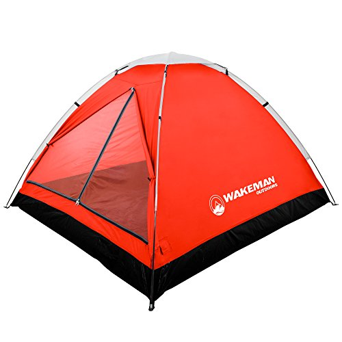 Wakeman 2-Person Tent, Water Resistant Dome Tent for Camping with Removable Rain Fly and Carry Bag, Lost River 2 Person Tent Outdoors (Red/Gray)