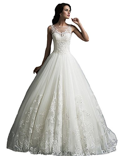 41Q4ti6A24L ●Elegant lace and tulle bridal wedding ball gown for brides ●Free Custom Size and Color Service are available. If you are not sure about size, feel free to contact us. ●Perfect for wedding, evening, prom, party and other special occasion