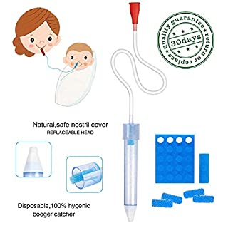 Premium Baby Nasal Aspirator Infant Booger Sucker,Snot Sucker with Hygiene FiltersWhy we chose it ?There is nothing than watching your baby cold and cannot breathe more sadness.Because our baby's immune systems is still developing.They may catch a co...