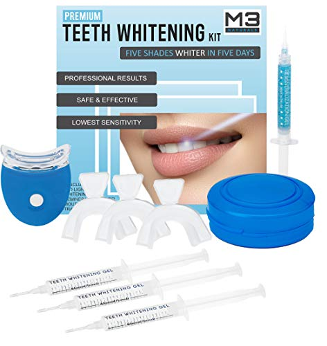 M3 Naturals Teeth Whitening Kit with LED Light Professional Stain Remover Non Sensitive 35% Peroxide Gel Oral Remineralization Gel Custom Trays Retainer Case 5 ...