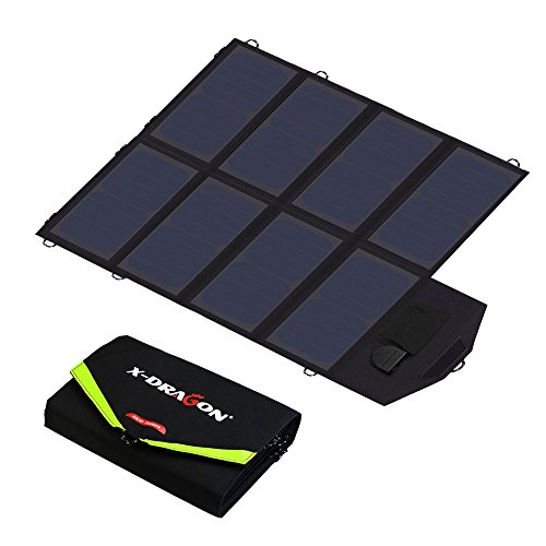 X-DRAGON Solar Charger 40W Sunpower Solar Panel Charger (5V USB + 18V DC) Laptop Charger for Phone, NoteBook, Laptop, Tablet, Apple, iPhone, ipad, iPod, Samsung, Android Smartphones