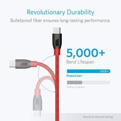 41QGVR7VmOL - Anker PowerLine+ USB-C to USB 3.0 cable (3ft/0.9m), High Durability, for USB Type-C Devices, for Samsung Galaxy S10, S9, MacBook, Sony XZ, LG, V20, G5, G6, HTC 10, Xiaomi 5 & More