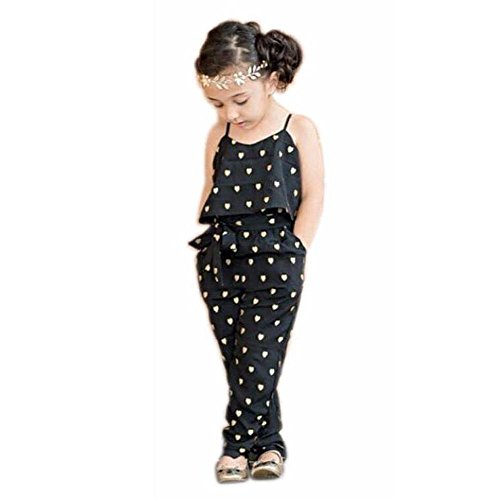 2017 Hot Fashion Toddlers Children Girls Love Heart Straps Jumpsuits by FEITONG (6T(5-6Y), Black)