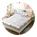 160X200Cm 100% Cotton Girls Fitted Sheet Bed Sheet Linen Set Mattress Cover with Elastic Band Sheet College Dorm Queen Twin Size,Fitted Sheet 6,2Pcs Pillowcases