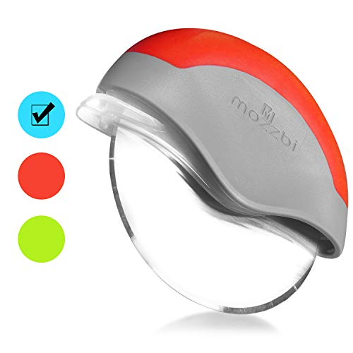Mozzbi Premium Pizza Cutter Wheel, Pizza Slicer Cutter - Super Sharp - Stainless Steel with Protective Sliding Blade Guard, Locking Blade Cover for Safety