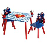 Warner Brothers Superman Wooden Kids' 3 Piece Set Of Table With Two Round Red Plastic Cupholders and Chair With Multi-Colored Life-Like Image Of Superman In Action