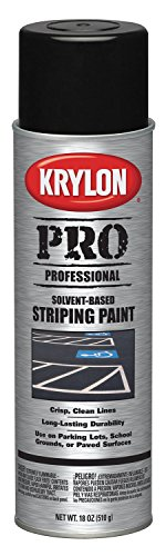 Krylon K05913007 Solvent-Based Professional Striping Paint, Cover Up Black, 18 Ounce