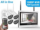 [8CH Expandable] Security Camera System Wireless,Safevant 8CH 1080P NVR&12' Monitor Wireless Security Camera System(NO Hard Drive) with 4PCS 960P Wireless Security Cameras,Plug&Play,No Monthly Fee