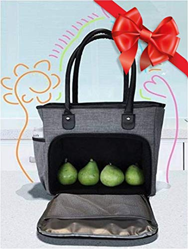 Kinsho Extra Large Lunch Tote for Women, Big Insulated Meal Prep Bag for Work, XL Fashionable Ladies Commuter Purse, Totes Fit Food Containers Laptop Tablet, Grey, Black Shoulder Strap