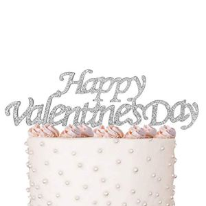 FAJ Happy Valentine'S Day Cake Topper Crystal Rhinestones On Silver Metal Party Decorations Favors One Size Happy Valentine's Day 41QRGt0go 2BL