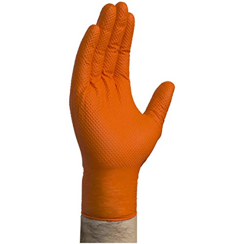 AMMEX – Gwon – Gloveworks – Nitrile Disposale Gloves – Latex Free, Powder Free, Heavy Duty, Automotive, Mechanic, Industrial, 8 mil, Orange