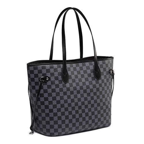 Daisy Rose Checkered Tote Shoulder Bag with inner pouch - PU Vegan Leather 3 Fashion Online Shop gifts for her gifts for him womens full figure