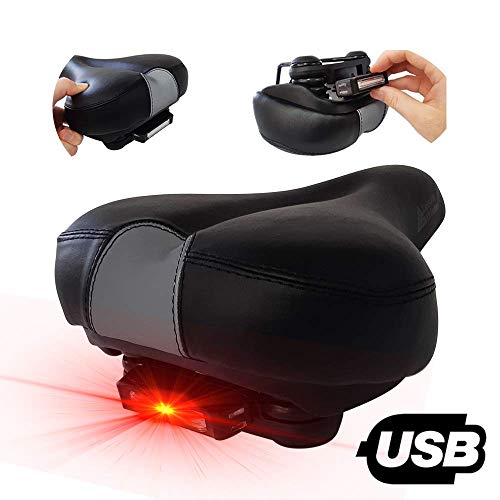 Leisure Athletes Soft Cushion Bike Seat for Seniors, Men & Women - Extra Wide Shock Absorbing Memory Foam Bicycle Saddle - Rechargeable Red Taillight - Waterproof Black Leather