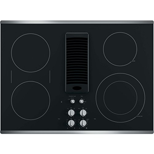 GE PP9830SJSS 30 Inch Smoothtop Electric Cooktop with 4 Burners, 3-Speed Downdraft Exhaust System, 9'/6 Inch Power Boil, Bridge Element and