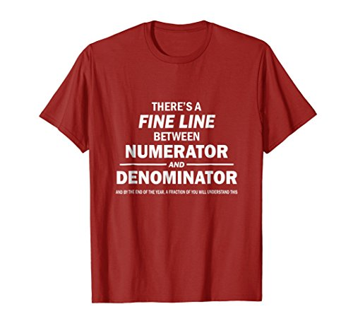 Mens Funny Fractions Tshirt For Math Teachers 2XL Cranberry