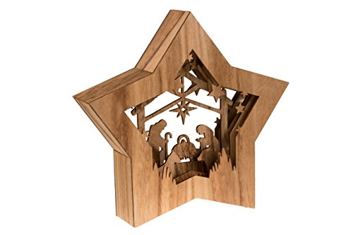 Star Shaped Nativity by Clever Creations | Collectible Religious Christmas Scene | Festive Holiday Décor | LED Backlight Layered Design | 100% Wood | 10.5