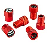 Amazing Bits Bike Valve Adapter - Convert Presta to Schrader - French/UK to US - Inflate Tire Using Standard Pump or Air Compressor (5 Pack) (Red Hex Caps)