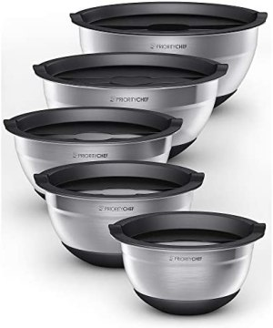 PriorityChef Stainless Steel Mixing Bowls With Lids Set of 5 – Multifunctional Stackable Measuring Bowl Set With Silicone Base – 1.2 / 1.7 / 2.2 / 3.6 / 4.7 Quart