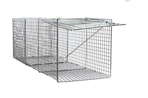 Large One Door Catch Release Heavy Duty Cage Live Animal Trap for Dogs, Foxes, Badgers, Coyotes, and Other Similar Sized Animals, 42'x15'x15'