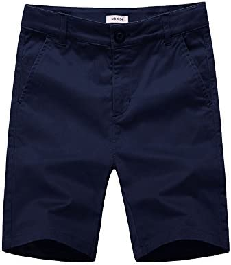 KID1234 Boys Shorts - Flat Front Shorts with Adjustable Waist,Chino Shorts for Boys 5-14 Years,6 Colors to Choose 1
