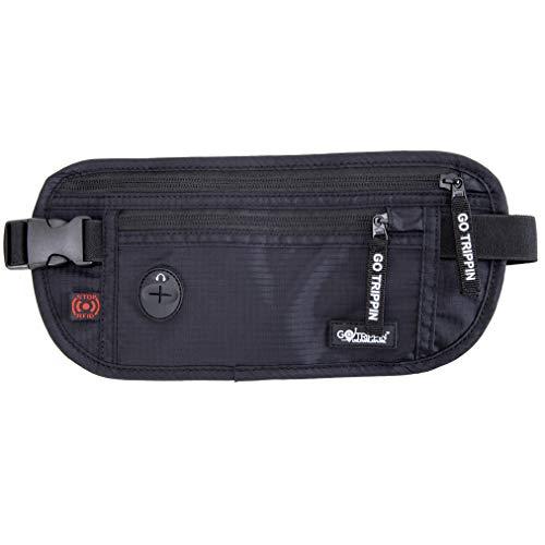GoTrippin Travel Money Belt, Waist Pouch Bag with RFID Security (Black)