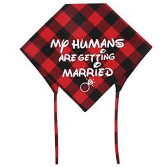 KZHAREEN-2-Pack-My-Humans-are-Getting-Married-Dog-Bandana-Printing-Plaid-Wedding-Reversible-Triangle-Bibs-Scarf-Accessories-for-Dogs-Cats