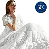 MAXIJIN Modern Weighted Blankets 20 lbs for 180-220lb Adult 100% Cotton Queen Size Heavy Blanket for Sleeping(60'x80' 20lbs, White)