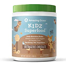 Amazing Grass, Kidz Superfood, Outrageous Chocolate, 30 Servings, 6.35 Oz, Greens, Fruits, Veggies, Probiotics, Organic Wheat Grass, Organic Carrot, Spinach, Broccoli, Vitamin A
