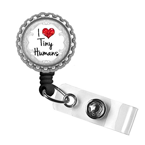 I Love Tiny Humans Silver Retractable ID Tag Badge Reel