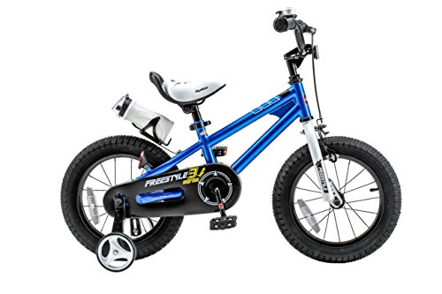 Royalbaby Freestyle Kid's Bike, 12 inch with Training Wheels, Blue, Gift for Boys and Girls