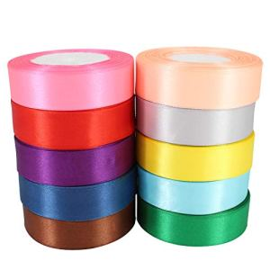 25mm Satin Double Sided Ribbon Rolls – 10 Colours – (Premium Quality) – Polyester Ribbons for Fabric, Arts and Crafts, Bows, Wedding, Birthday Cake and Home Decoration by Trimming Shop® 41Qs6YtlZEL