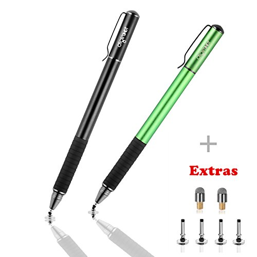 Digiroot (2Pcs) 2-in-1 Precision Stylus Disc Tip With Fiber Tip For Notes-taking, Drawing , Navigation on Touch Screen (4 Discs, 2 Fiber Tips Included)- (Black/Green)