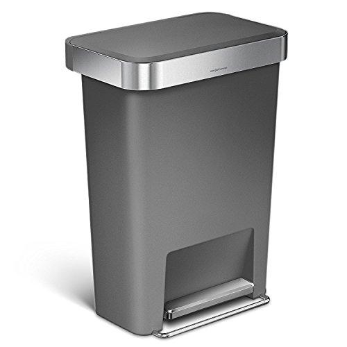 simplehuman 45 Liter / 11.9 Gallon Rectangular Step Can with Liner Pocket, Gray Plastic