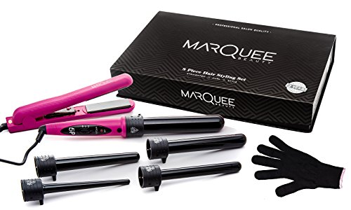 Deluxe Professional Beauty 8 Piece Interchangeable Flat and Curling Iron Set - Instant Hair Straightener, Professionally Curl Your Hair