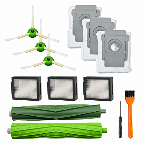 RONGJU 10 Pack Replacement Parts for iRobot Roomba i7 i7+/i7 Plus E5 E6 Vacuum Cleaner, 1 Pack Multi-Surface Rubber Brushes 3 Pack HEPA Filters 3 Pack Side Brushes 3 Pack Automatic Dirt Disposal Bags
