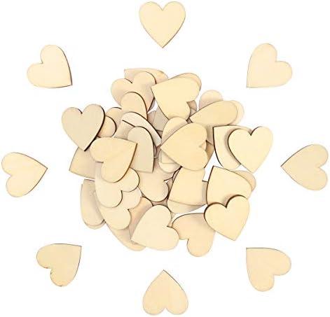 VORCOOL 50pcs 30mm Blank Heart Wood Slices Discs for DIY Crafts Embellishments (Wood Color)