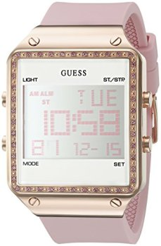 GUESS Rose Gold-Tone Pink Digital Stain Resistant Silicone Watch. with Day, Date, 24 Hour Military/Int'l Time, Dual Time Zone + Alarm. Color: Pink (Model: U0700L2)