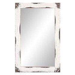 24×36 Distressed White Reclaimed Wood Wall Mirror