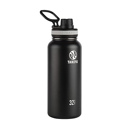 Takeya 50011 Originals Vacuum-Insulated Stainless-Steel Water Bottle, 32oz, Black, 32 oz,