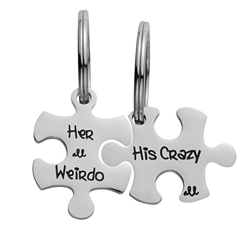 omodofo Valentine's Day His and Hers Puzzle Piece Pendant Necklace/Keychain Set Personalized Couples Stainless Steel Hand Stamped Gift Jewelry Chain/Keyring (His Crazy & Her Weirdo (Keychain))