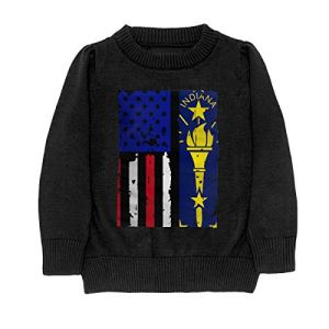 HJKNF58Q Indiana State American USA Flag Pride Sweater Youth Kids Funny Crew Neck Pullover Sweatshirt