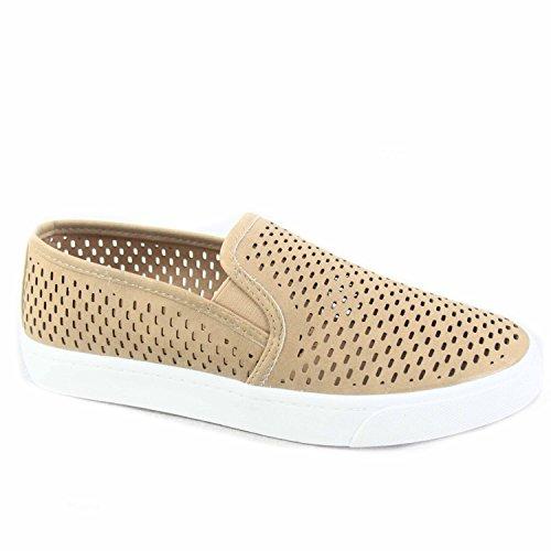 SODA Alpaca-s Women's Causal Slip On White Sole Round Toe Boat Sneaker Shoes (8.5 B(M) US, Camel)
