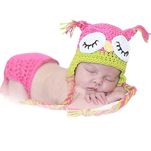 Neevas Pink Owl Baby Girl Infant Knit Crochet Clothes Costume Photo Prop Outfit