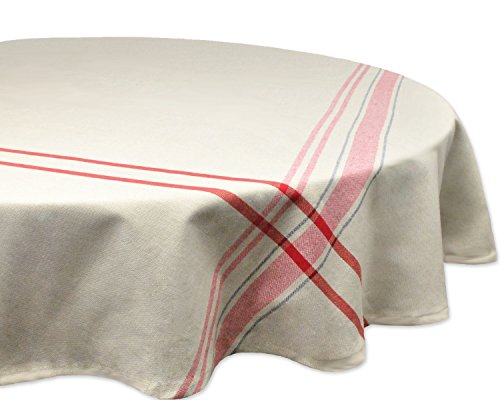 DII 100% Cotton, Machine Washable, Everyday French Stripe Kitchen Tablecloth For Dinner Parties, Summer & Outdoor Picnics - 70' Round Seats 4 to 6 People, Red