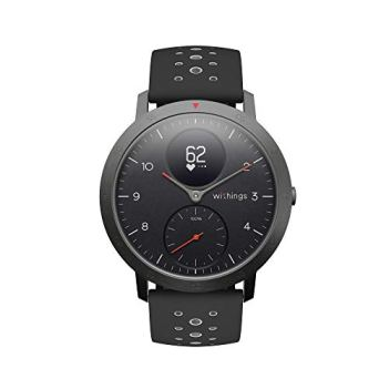Withings Steel HR Sport Hybrid Smartwatch (40mm) - Activity, Sleep, Fitness and Heart Rate Tracker with Connected GPS, Smart Notifications, Water Resistant with 25-day battery life (3700546704475), Black
